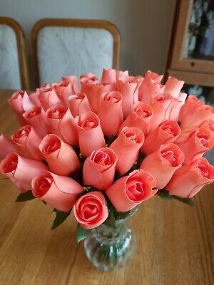 3 Dozen - Peach Small Wooden Roses 5 X 8 Artificial Flowers - Free Shipping • 14.68£