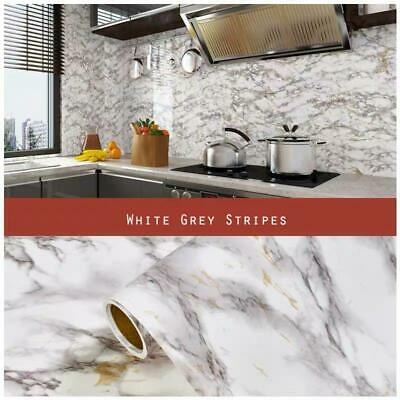 5 Metres Vinyl Self Adhesive Marble Worktop Cupboard Door Cover Kitchen Stickers • 12.89£