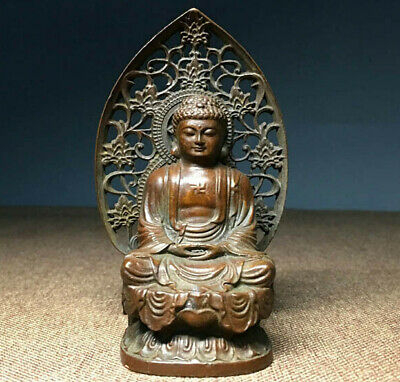 Antique Carved Buddhism Vintage Bronze Sakyamuni Buddha Godness Kwan-yin Statue • 15£