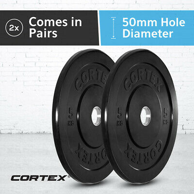 AU54.99 • Buy CORTEX 5kg (Pair) Olympic 50mm Black Series Bumper Weight Plates IWF 450mm Size