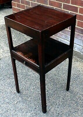 George III Antique Solid Mahogany 1 Drawer Bedside Side Table Chest Night Stand  • 115£