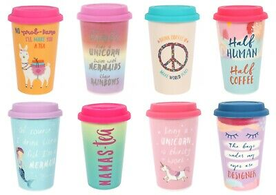 Ceramic Double Wall Thermal Hot Drink Coffee Tea Travel Mug Cup W/ Silicone Lid • 8.99£