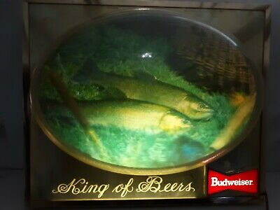 $ CDN287.45 • Buy Budweiser  King Of Beers  Lighted 3d Bubble Trout Bar Advertising Sign 1950's