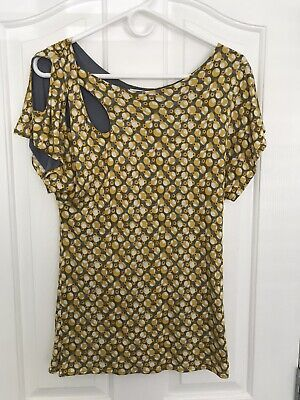 $ CDN38.99 • Buy Anthropologie Meadow Rue SMALL Lausanne Petal Cutout Top Yellow Gray Fully Lined