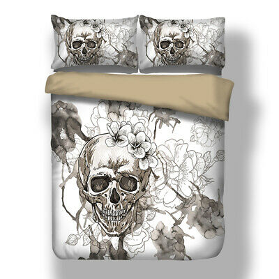 Skull Flower Duvet Quilt Cover Gothic Bedding Set Pillowcases Single Double King • 26.99£