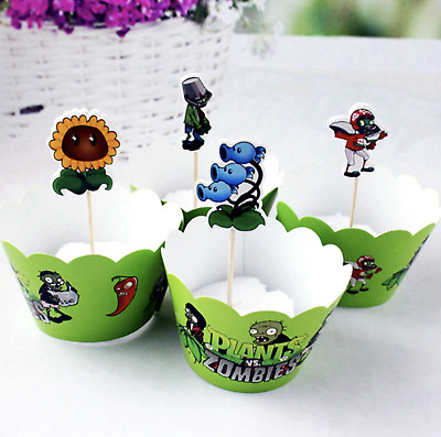 £3.49 • Buy 12pc Plants Vs Zombies Cupcake Wrappers & 12 Matching Cupcake Toppers 24 Piece