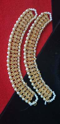 £8.99 • Buy PAIR OF SILVER GOLDEN PAYAL ANKLET ANKLETS CHAIN INDIAN BOLLYWOOD 9 Inch