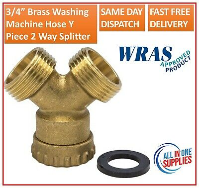3/4  Brass Washing Machine Hose Y Piece Splitter Joiner Connector Union Swivel  • 5.85£