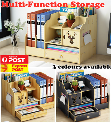 AU35.14 • Buy Office Desk Wooden A4 Size File Organiser Brush Storage Container Pen Holder DIY
