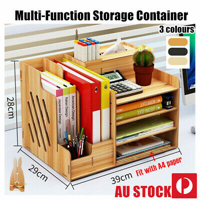 AU34.19 • Buy Office Desk Wooden A4 Size File Organiser Brush Storage Container Pen Holder DIY