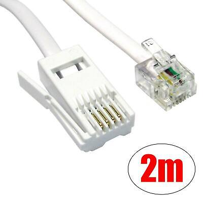 RJ11 To BT Plug Telephone Modem Cable Lead Socket Fax Router Phone Sky Box 2m UK • 1.69£