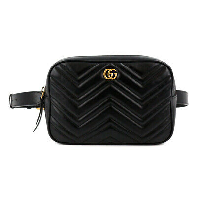 AU1514.93 • Buy GUCCI GG Marmont Belt Bag Waist Pouch Leather Black 523380 467891 Purse 90104012