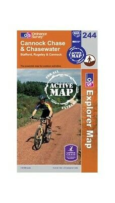 Cannock Chase & Chasewater OS Explorer - Active Map 244 Sheet Map, Folded Book • 18.99£