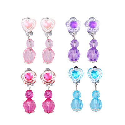 £4.60 • Buy 4 Pairs Clip On Earrings Set Children Pretend Play Princess Jewelry Dress Up Toy