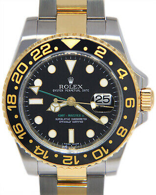$ CDN15952.65 • Buy Rolex GMT-Master II 18k Yellow Gold & Steel Black Ceramic Mens 40mm Watch 116713