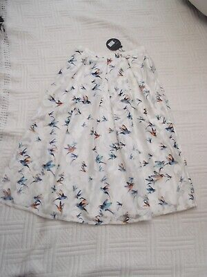 BNWT  Cutie   Size 10       WHITE  NET  With BIRDS   Lined   SKIRT   30  Long   • 7.99£