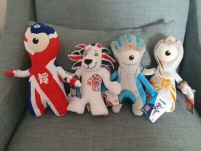 4 London 2012 Olympic Soft Toys Wenlock And Mandeville British Lion Mascot BNWT • 14.99£