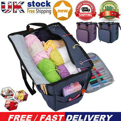 Portable Knitting Tote Bag Wool Crochet Storage Bags Sewing Needles Organizer UK • 19.14£