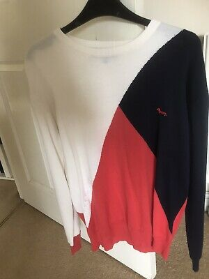 Harmont And Blaine Blue , Red And White Crew Neck Sweater Size 3XL • 25.99£