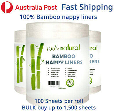 AU19 • Buy 100% BAMBOO Nappy Liners For Modern Cloth Nappies MCN Liner ECO Friendly Baby