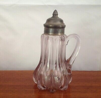 $19.99 • Buy Antique  Syrup Pitcher With Pewter Top, Dated Early 1900's