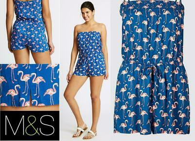 M&S Blue Flamingo Pattern Viscose Bandeau Playsuit Sizes From 8 To 24 • 9.99£