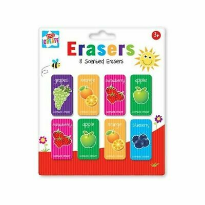 8x Scented Rubbers Erasers Fruit Stationery Stocking Filler Goodie Bag Gift Idea • 2.24£