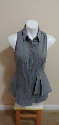 $ CDN13.94 • Buy White House Black Market Gray Striped Collared Sleeveless Peplum Top Size 8