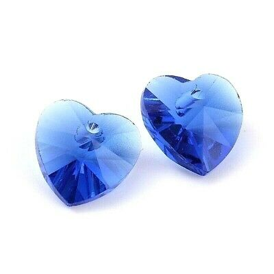 £1.85 • Buy 10 X Crystal Glass Faceted Blue Heart Pendant Charms 10mm