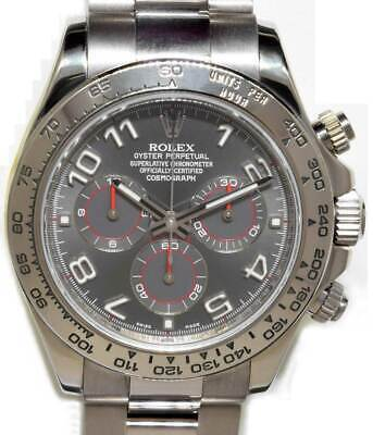 $ CDN35376.16 • Buy  Rolex Daytona Chronograph 18k White Gold Gray Dial Watch & Box D 116509