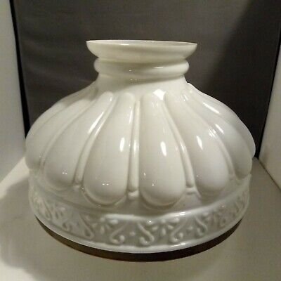 White Opaline Glass Oil Lamp Shade With Carrier To Fit Double Wick Burner • 85£