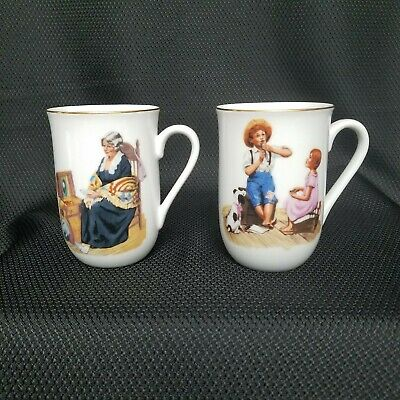 $ CDN21.80 • Buy  Norman Rockwell Museum Coffee Mugs Cups Set Of 2 White W/ Gold Trim Vintage