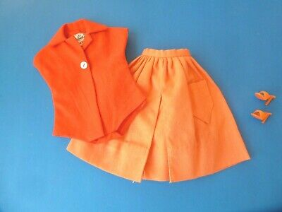 $ CDN36.99 • Buy Vintage Barbie Red Body Blouse, Orange Skirt & Open Toe From 1960's