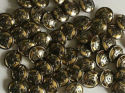 6 Gold With Pewter Raised Design 20mm Shank Back Top Quality Buttons (B92H) • 2£