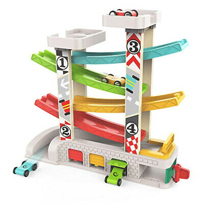 £32.99 • Buy Car Ramp Toy For Toddlers Race Racing Track Park Parking Garage 4 Wooden Cars