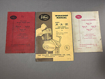 Villiers Mark 9E 2L 31C Owners Manual/ Engine Gear Parts List And Handbook Lot • 50.96£