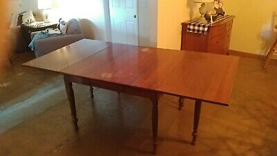 $195 • Buy Antique Federal Solid Mahogany Drop Leaf Gate Leg Sofa Table Dining Table