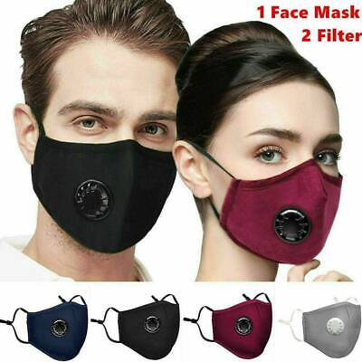 $ CDN12.91 • Buy Reusable Washable Cloth Face Mask W/ Air Valve + FREE 2 PM2.5 Carbon Filters .M