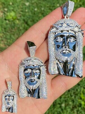 $109.78 • Buy Real 925 Sterling Silver Icy Jesus Piece Flooded Out Pendant Iced Mens Necklace