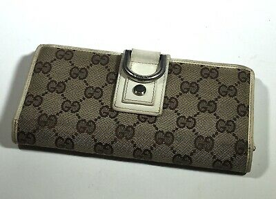 $89.99 • Buy Gucci Vintage GG Logo Canvas White Leather Long Authentic Womens Wallet