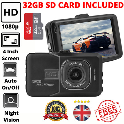 1080p Car Dash Cam HD Video Recorder With Night Vision - 32GB SD Card Included • 24.95£