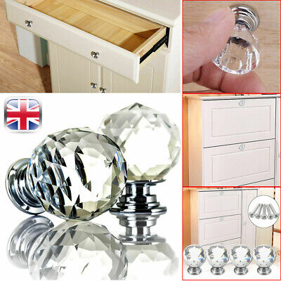 Clear Crystal Ball Glass Door Knobs Cupboard Drawer Handle For Furniture Knobs  • 8.27£