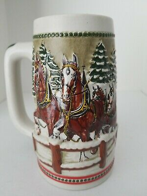 $ CDN20.80 • Buy Budweiser VintagHoliday Clydesdales Beer Stein Mug Bridge 1984 Ceramarte
