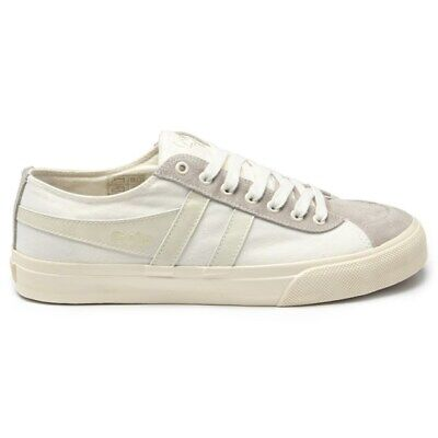 New Mens Gola White Quota Canvas Trainers Plimsolls Lace Up • 22£