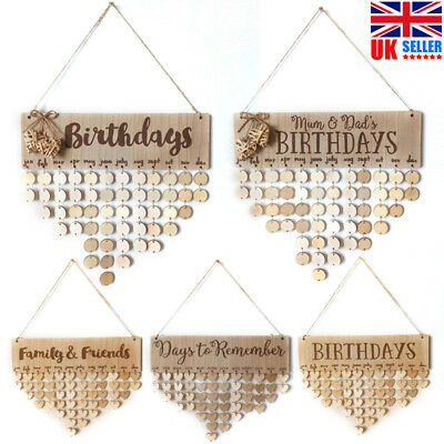 Wooden Family And Friends Reminder Birthday Board Perpetual Event Calendar Craft • 7.99£