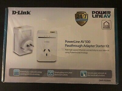 AU89 • Buy D-Link DHP-P309AV Powerline AV500 Passthrough Adapter Starter Kit BRAND NEW !!!