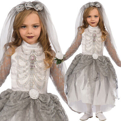 Girls White Skeleton Bride Costume – Kids Halloween Trick Treat Spooky Outfit • 18.49£