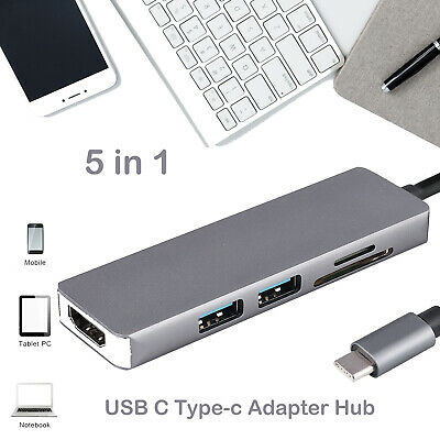 AU28.48 • Buy 5 In 1 USB 3.1 Type C USB-C To Data USB Combo HUB TF Card Reader 4K HDMI Adapter
