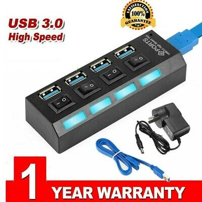 AU22.62 • Buy 4 Port USB 3.0 HUB With ON/OFF Switchs For PC Laptop High 900mA Output Powered