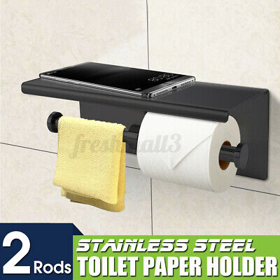 AU25.99 • Buy Toilet Paper Double Roll Holder Polished Rack Rail Storage + Phone Shelf Set🇦🇺